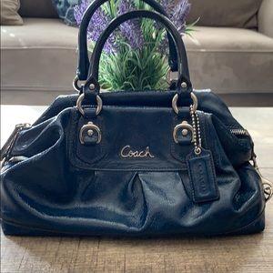 Coach blue satchel hand bag